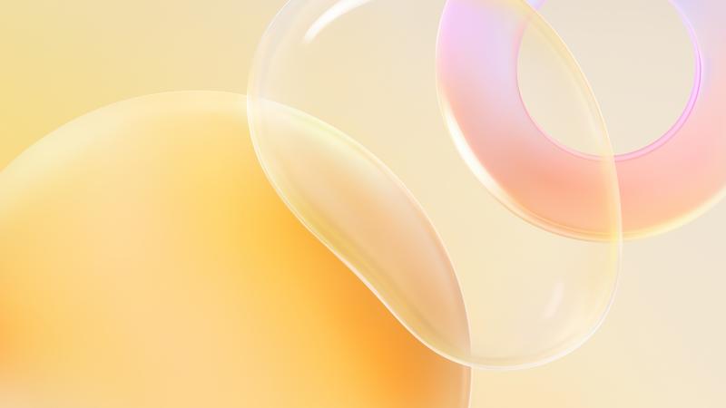 Huawei Nova 8 Pro, Bubble, Circle, White background, Yellow, Stock, Aesthetic, Wallpaper