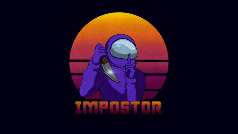 Impostor, Among Us, iOS Games, Android games, PC Games, Black background, 5K, 8K, Wallpaper