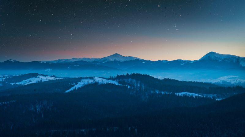 Evening, Dusk, Forest, Mountains, Starry sky, Foggy, Winter, Sunset, Wallpaper
