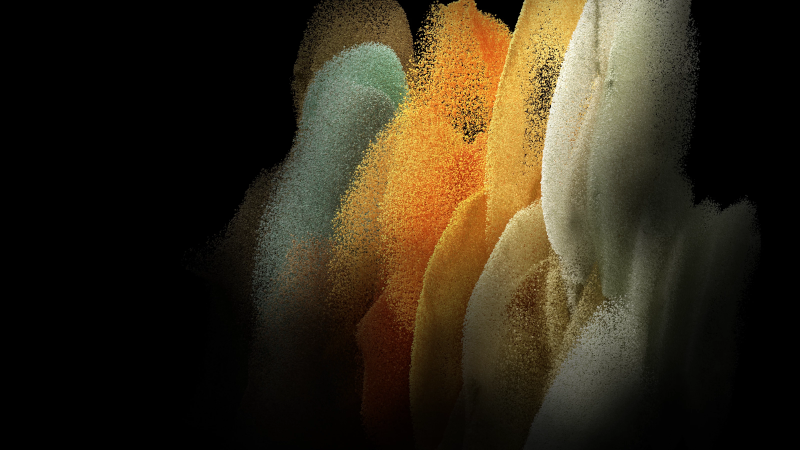 Samsung Galaxy S21, Stock, AMOLED, Particles, Yellow, Black background, Wallpaper