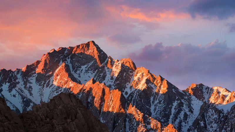 macOS Sierra, Mountain, Peak, Sunset, Evening, Stock, 5K, Wallpaper