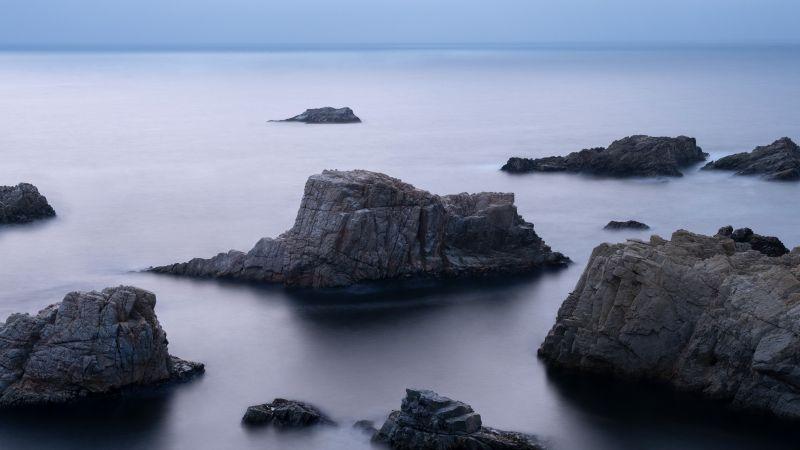 Coastline, Horizon, Cold, Seascape, Rocks, macOS Big Sur, Stock, 5K, Wallpaper