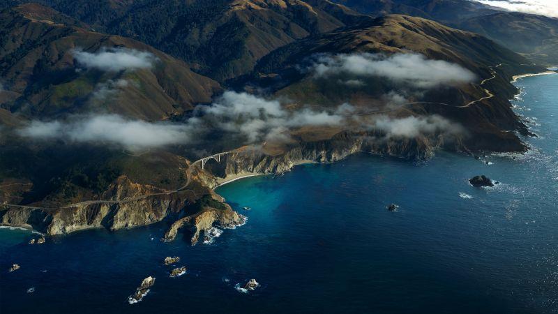 Coastline, Aerial view, Above clouds, Seascape, Mountains, macOS Big Sur, Stock, 5K, Wallpaper