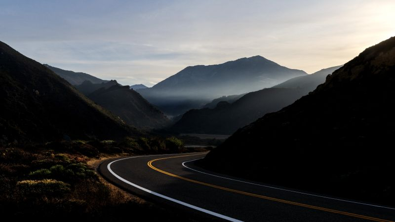 Road, Mountains, Tarmac, Sunrise, Morning, macOS Big Sur, Stock, 5K, Wallpaper