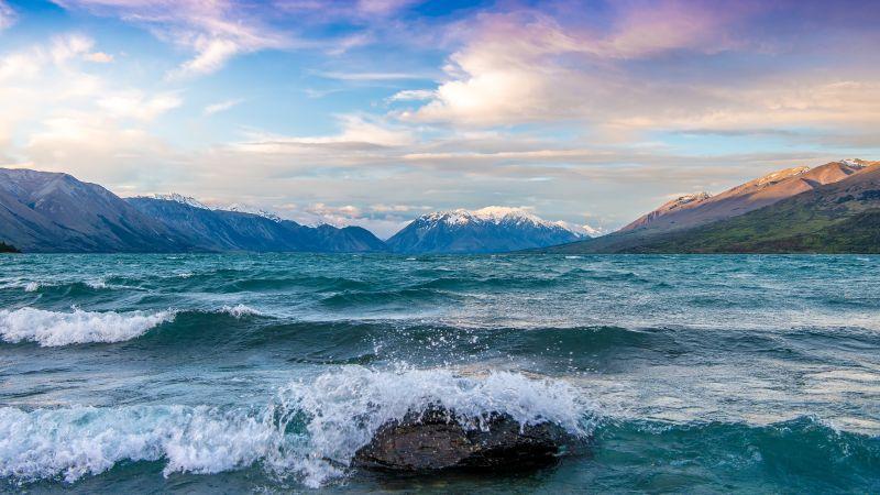 Lake Ohau, Glacier, Mountains, New Zealand, Wallpaper