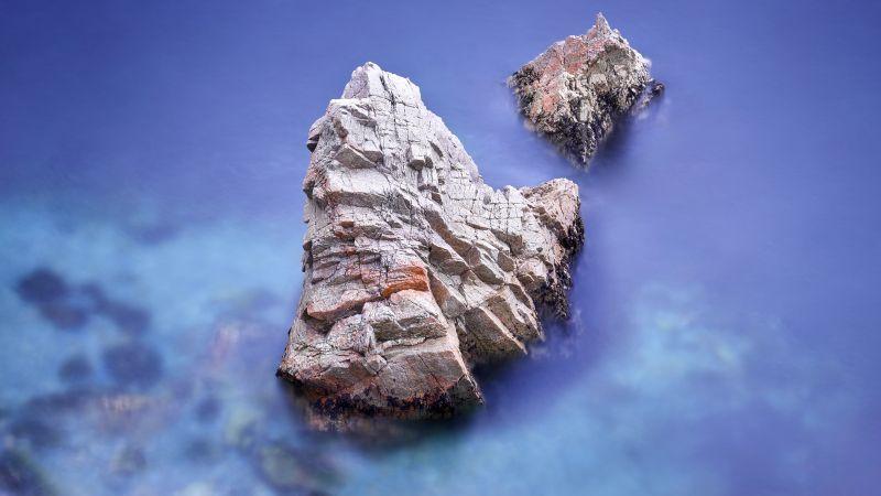macOS Big Sur, Seashore, Rocks, Stock, Aesthetic, 5K, Wallpaper