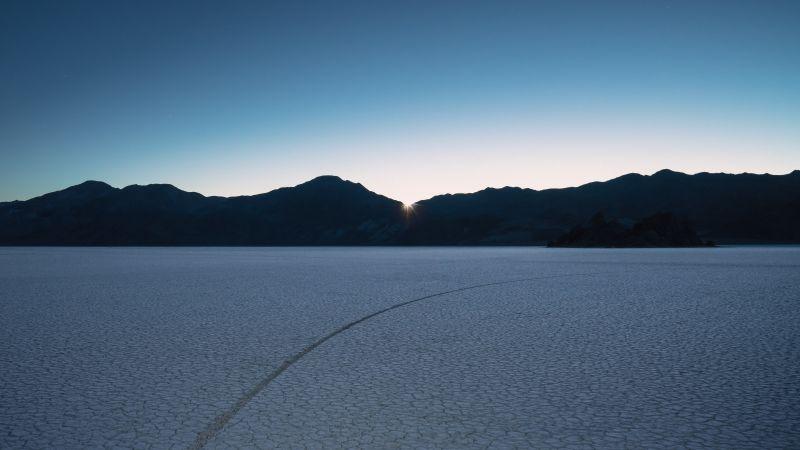 macOS Mojave, Desert, Sunrise, Mountains, Clear sky, Panoramic, Landscape, 5K, Wallpaper