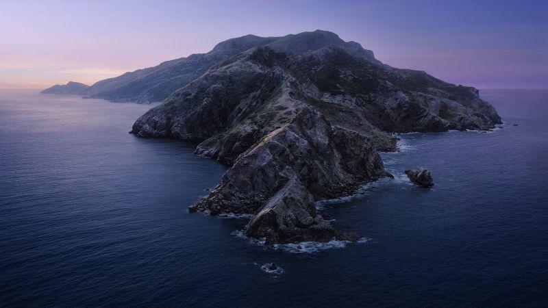 macOS Catalina, Mountains, Island, Evening, Twilight, Sunset, Stock, 5K, Wallpaper