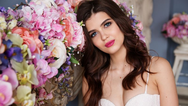 Beautiful girl, Fashion, Makeup, Flowers, Portrait, Wallpaper