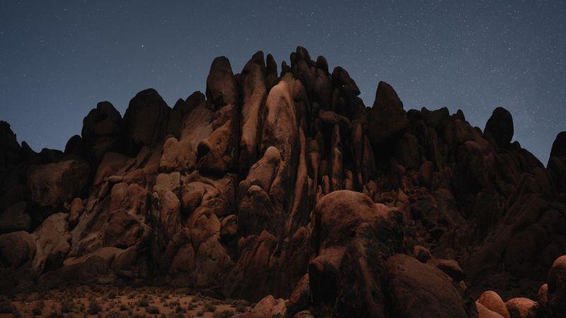 Desert, macOS Mojave, Stock, Night, Rocks, 5K, Wallpaper