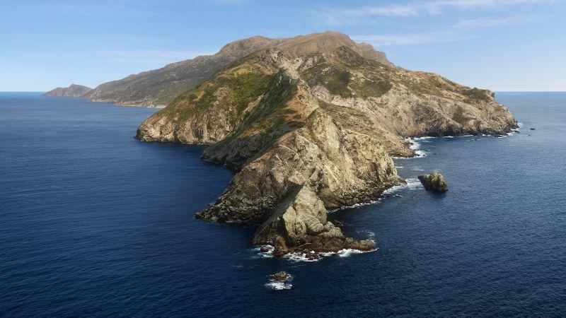 macOS Catalina, Mountains, Island, Sunny day, Stock, 5K, Wallpaper