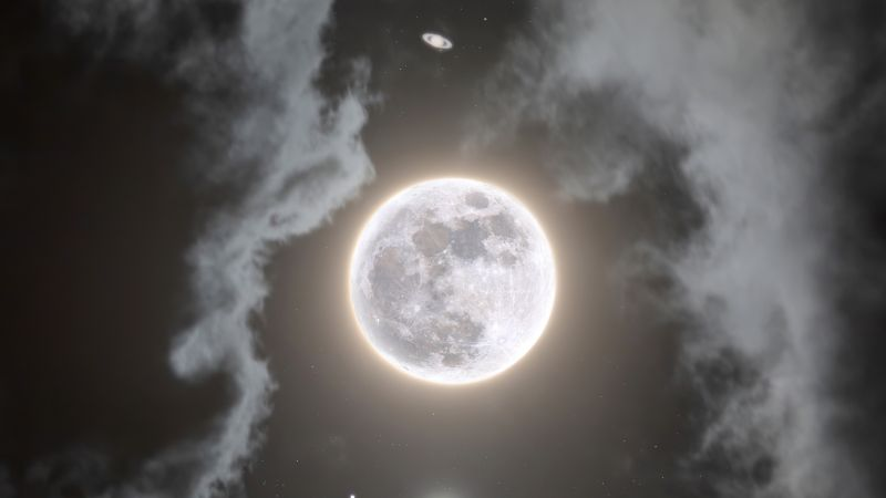 Moon, Jupiter, Saturn, Composition, Night, Dark, Cloudy, Surreal, 5K, Wallpaper