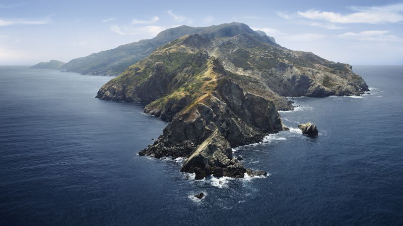 macOS Catalina, Mountains, Island, Morning, Foggy, Stock, 5K, Wallpaper