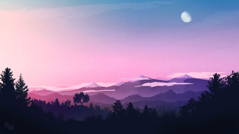 Moon, Evening sky, Mountains, Forest, Silhouette, Pink sky, Wallpaper