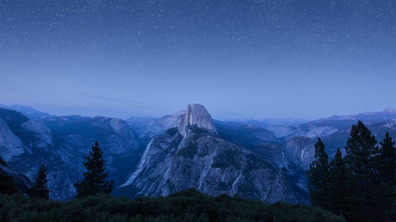 OS X El Capitan, Summit, Night, Starry sky, Mountains, Landscape, California, 5K, Wallpaper