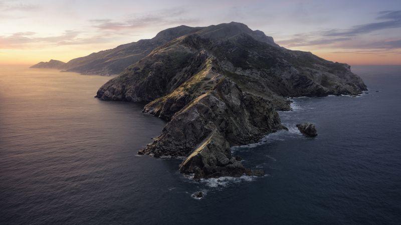 macOS Catalina, Mountains, Island, Evening, Stock, 5K, Wallpaper