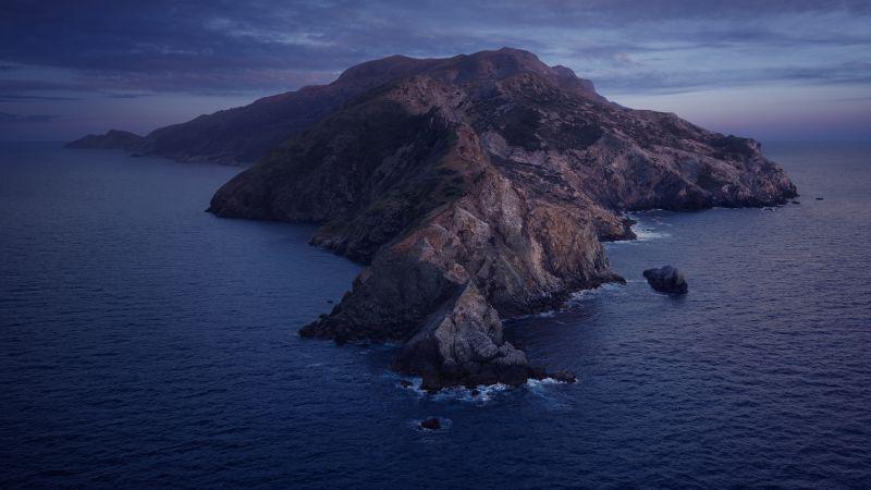 macOS Catalina, Mountains, Island, Night, Cold, Stock, 5K, Wallpaper