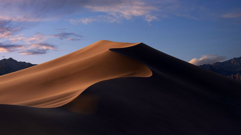 macOS Mojave, Sand Dunes, Mojave Desert, California, Evening, 5K, Stock, Wallpaper