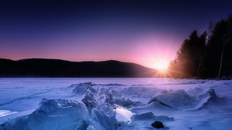 Rondout Reservoir, Sunset, Ice, Glacier, Morning, Landscape, 5K, Wallpaper