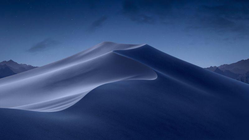macOS Mojave, Sand Dunes, Mojave Desert, California, Night, Dark, Moon light, 5K, Stock, Aesthetic, Wallpaper