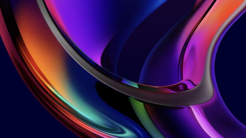 Iridescence, macOS Big Sur, MacBook Pro, Multicolor, Dark, Glossy, Stock, 5K, Wallpaper