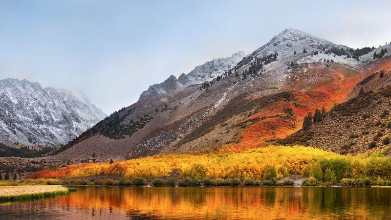 macOS High Sierra, Mountains, Stock, Landscape, Foggy, Autumn, Scenery, 5K, Wallpaper