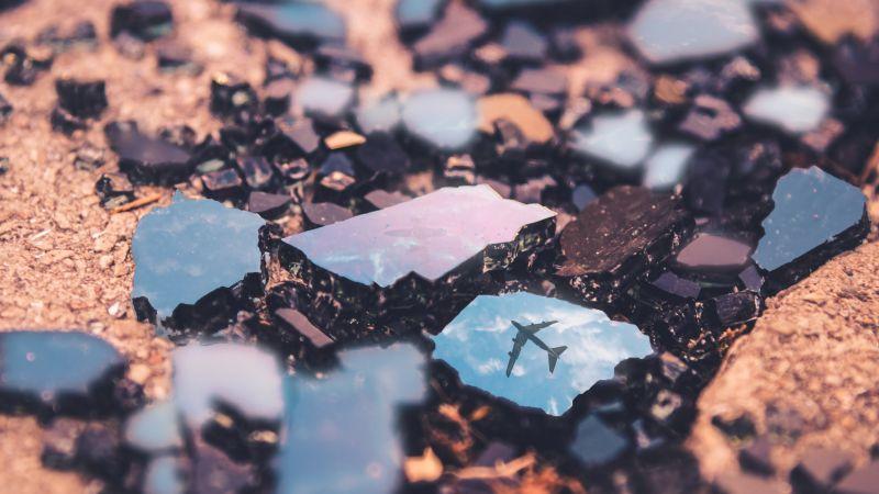 Flight, Broken rocks, Reflection, Macro, Crystals, Wallpaper
