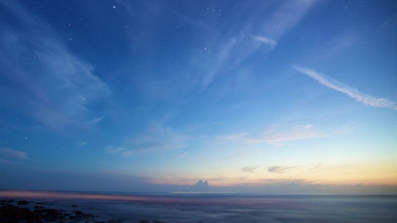 Clear sky, Sunset, Dusk, Blue sky, Starry sky, Horizon, Beach, Seascape, Rocky shore, Wallpaper