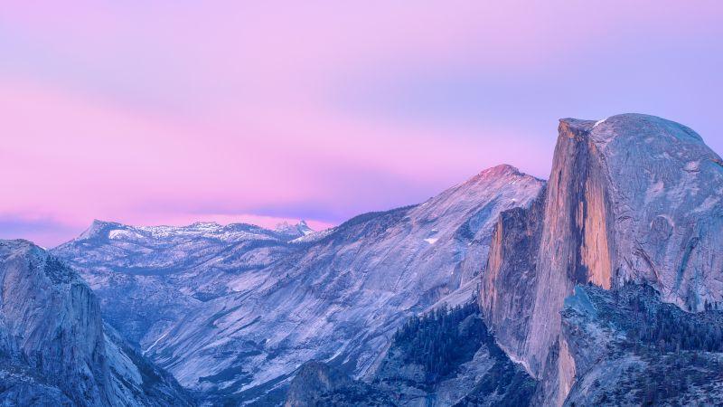 OS X Yosemite, Half Dome, Yosemite National Park, Yosemite Valley, Cliff, Mountains, Sunset, Twilight, Pink sky, California, 5K, Stock, Wallpaper
