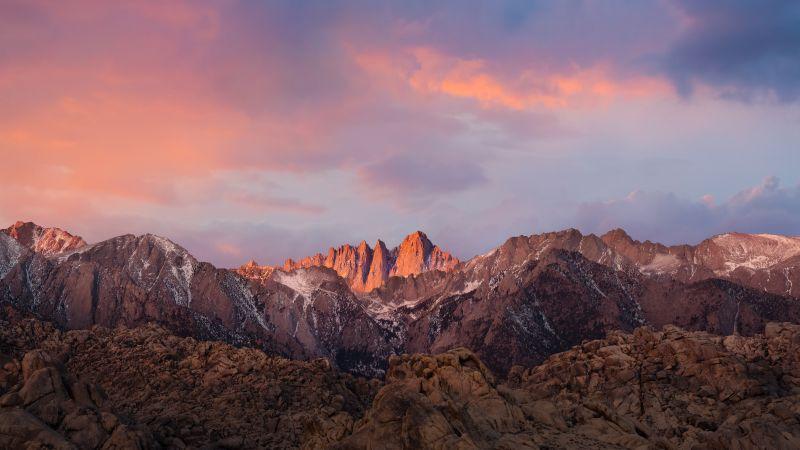 macOS Sierra, Sierra Nevada, Mountain range, Evening, Sunlight, Mountains, Mount Whitney, Peak, Summit, Stock, 5K, Wallpaper
