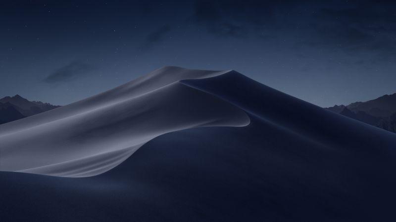 macOS Mojave, Sand Dunes, Mojave Desert, California, Night, Dark, 5K, Stock, Wallpaper