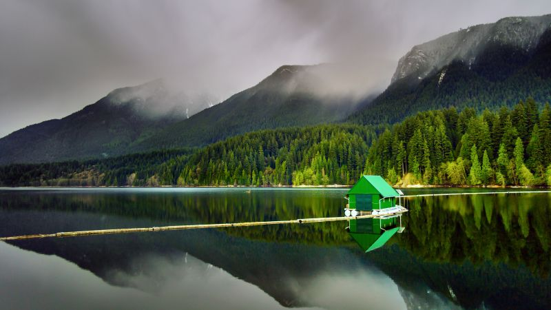 Floating Cabin, Capilano Lake, North Vancouver, Landscape, Green Trees, Mountains, Reflection, Body of Water, Foggy, Wallpaper
