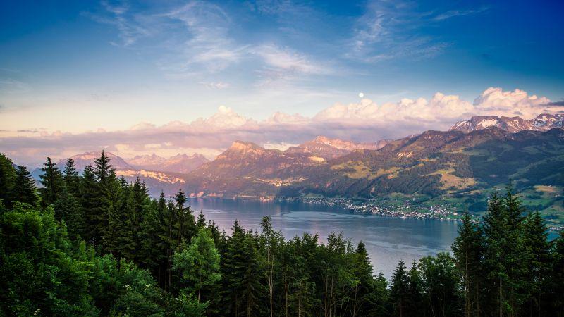 Lake Zurich, Switzerland, Landscape, Green Trees, Mountain range, Dusk, Cloudy Sky, Wallpaper