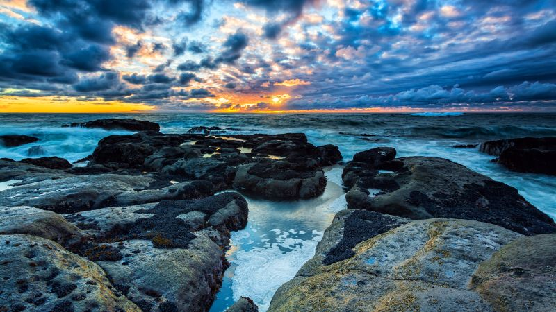 Stormy Clouds, Rocky coast, Seascape, Waves, Sunset, Horizon, Landscape, Wallpaper