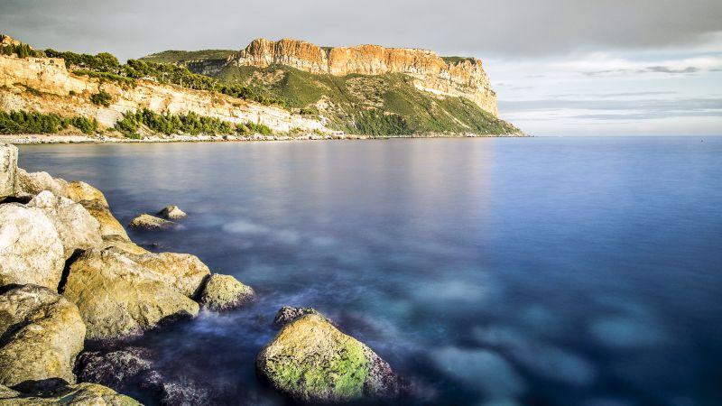 Cap Canaille, France, Mediterranean Sea, Headland, Cliff, Rocky coast, Long exposure, Landscape, Ocean, Seascape, Wallpaper