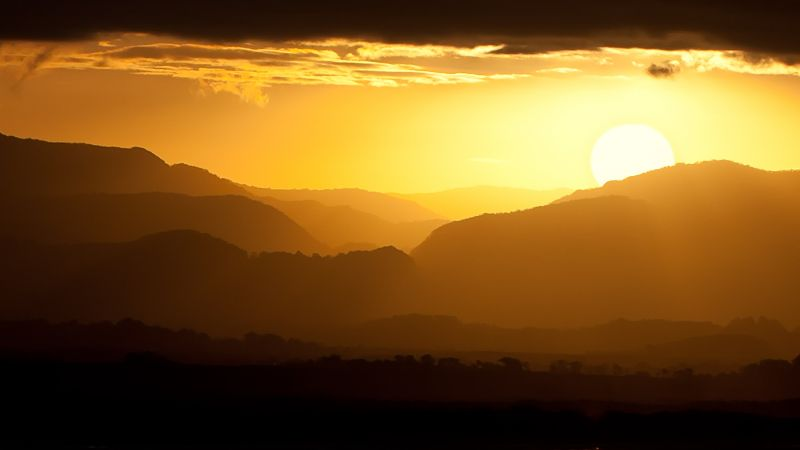 Sunset, Landscape, Mountains, Yellow sky, Silhouette, Wallpaper