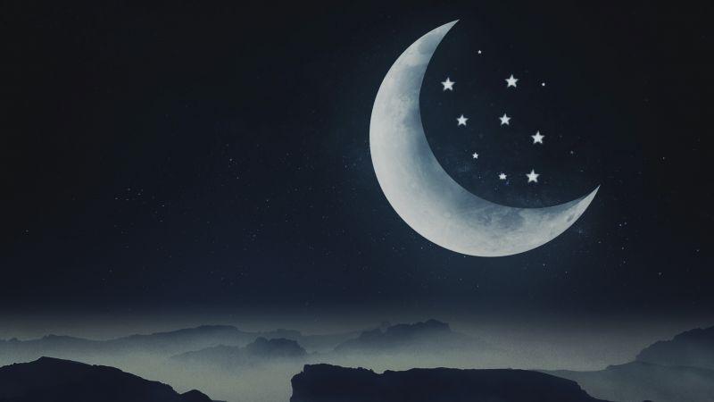 Half moon, Stars, Mountains, Night, Cold, Aesthetic, Wallpaper