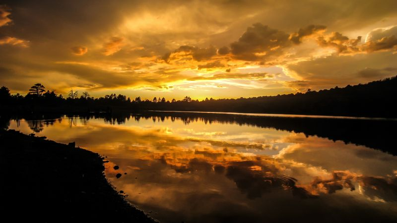 Kaibab Lake, Arizona, United States, Silhouette, Sunset, Cloudy Sky, Body of Water, Reflection, Landscape, Yellow, Wallpaper