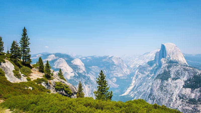 Valley De Yosemite, Yosemite National Park, Landmark, Landscape, Tourist attraction, Mountains, California, View Point, Beautiful, 5K, Wallpaper