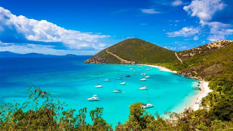 Jost Van Dyke, British Virgin Islands, Beach, Boats, Clouds, Turquoise water, Landscape, Tropical, Seascape, Beautiful, Scenic, Blue Sky, Wallpaper