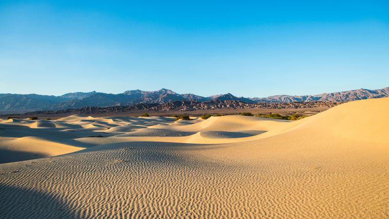 Death Valley, Dessert, California, Sand Dunes, Blue Sky, Mountain range, Sunrise, Landscape, Clear sky, 5K, Wallpaper