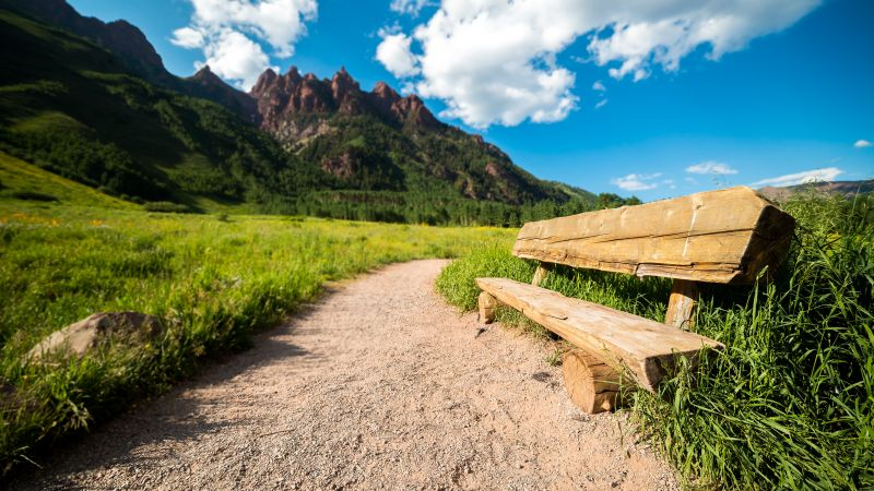 Park bench, Maroon Bells, Colorado, USA, Blue Sky, Clouds, Mountains, Pathway, Green Grass, Scenery, 5K, Wallpaper