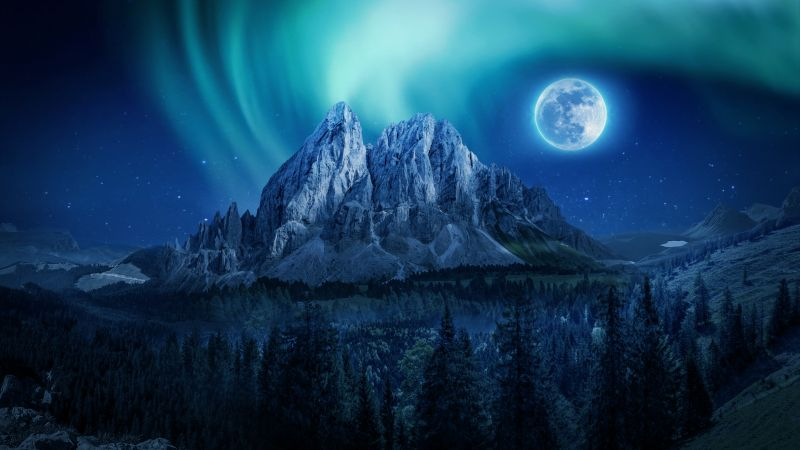 Moon, Aurora Borealis, Mountains, Winter, Forest, Night, Wallpaper