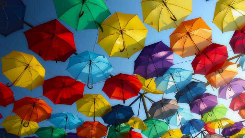 Umbrellas, Colorful, Street decoration, Multicolor, 5K, Wallpaper