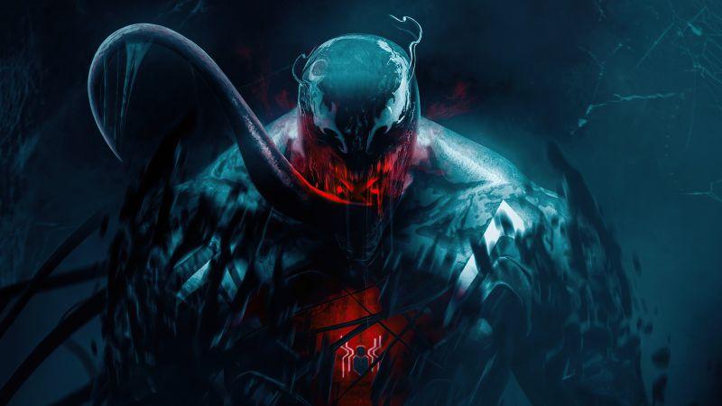 Venom, Spider-Man, Marvel Superheroes, Dark, 5K, Wallpaper