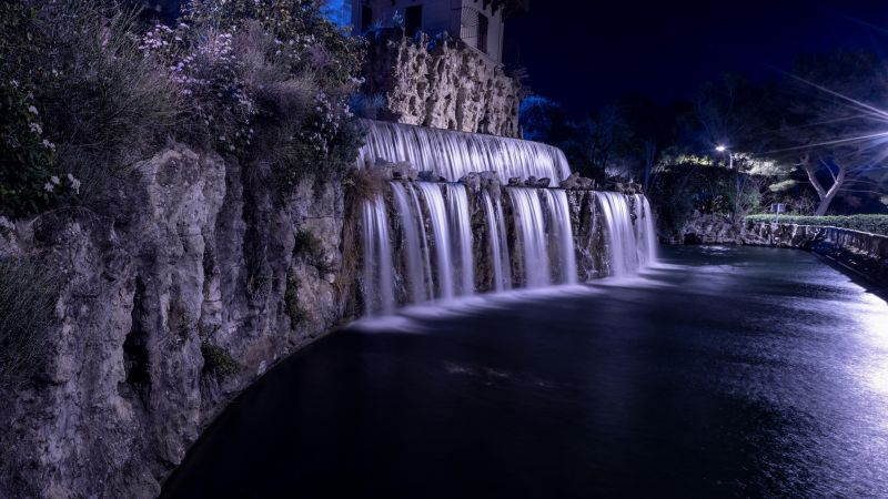Cascade Gairaut, Gairaut waterfall, Historical landmark, Night, Nice, France, Wallpaper