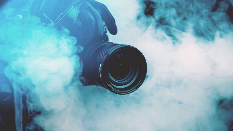 DSLR Camera, Zoom Lens, Fog, 5K, Wallpaper
