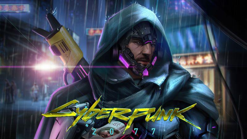 Johnny Silverhand, Cyberpunk 2077, Fan art, Keanu Reeves, Wallpaper