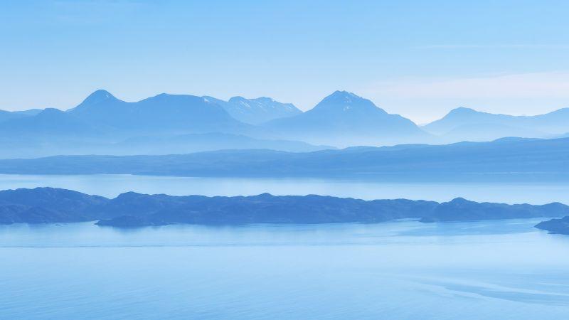 Isle of Skye, Scotland, Island, Mountain range, Wester Ross, Sound of Raasay, Foggy, Blue Sky, Panorama, Landscape, Scenery, 5K, Wallpaper