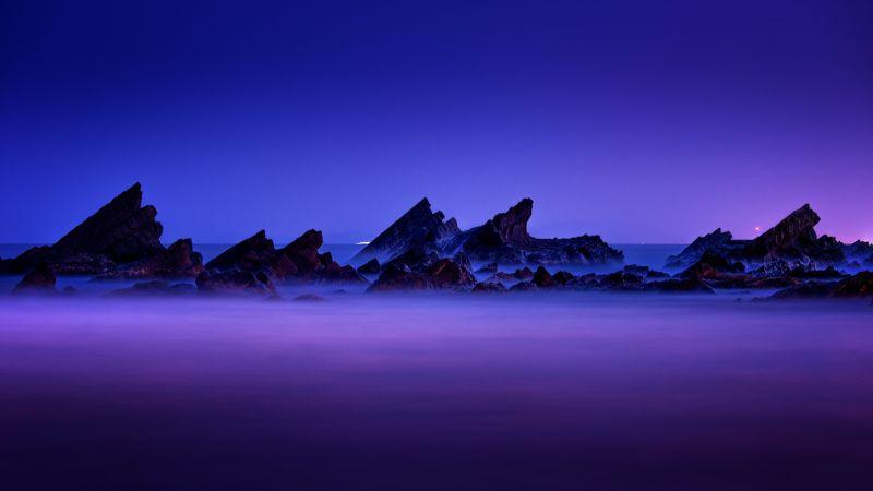 Rocky coast, Seascape, Purple sky, Landscape, Dusk, Long exposure, Scenic, 5K, 8K, Wallpaper